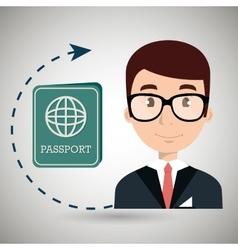 Receptionist hotel suitcase employee vector
