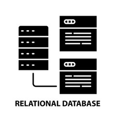 Relational database icon black sign with vector