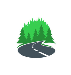 Road in forest icon highway or path way asphalt vector