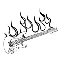 Rock star or band fire logo brand electric guitar vector