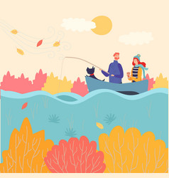 romantic couple fishing boat in autumn vector image