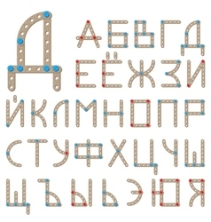 Russian alphabet made of wooden meccano vector