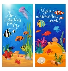 Sea Life Animals Plants Banner Set vector image