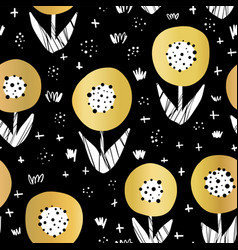 seamless gold foil flowers pattern vector image
