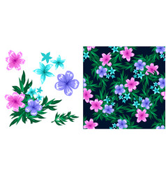 seamless pattern dark background with flowers vector image