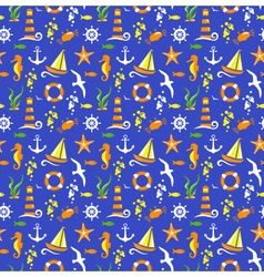 Seamless summer sea pattern isolated on blue vector image