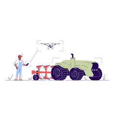 Self driving drone tractor flat smart farming vector