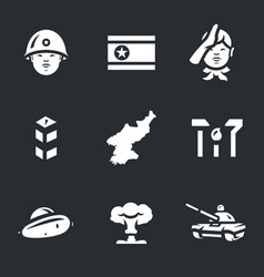 set of north korea icons vector image