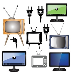 set of tv vector image