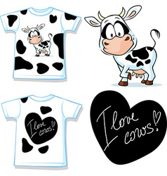 shirt with cute black and white cow vector image
