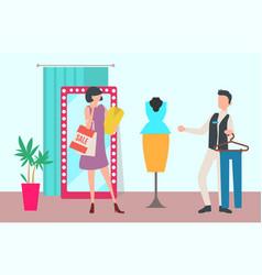 Shop or boutique interior shopping and customer vector