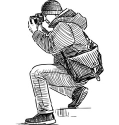 sketch a photographer taking picture vector image