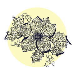 sketch of flower with leaves vector image