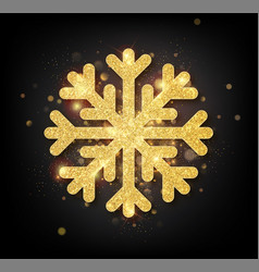 snowflake with gold glitter texture christmas vector image