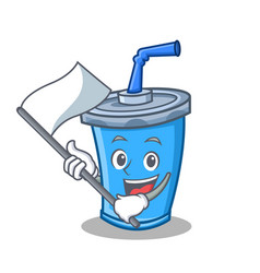Soda drink character cartoon with flag vector