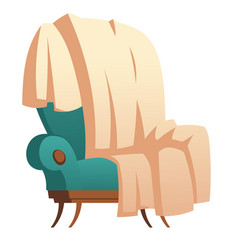 Soft wooden chair with blanket thrown furniture vector