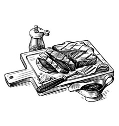 steak bbq drawing meat hand drawn vector image