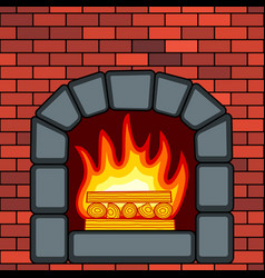 stone fireplace in brick wall vector image