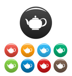teapot with handle icons set color vector image