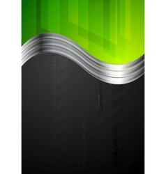 Tech bright background with metallic waves vector