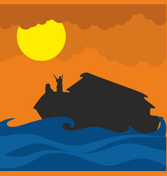 The flood and noahs ark vector