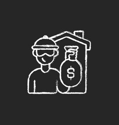 Theft chalk white icon on black background vector
