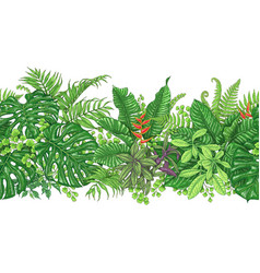 Tropical plants line horizontal pattern vector