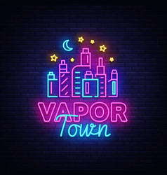 Vape shop neon sign vaping store logo vector