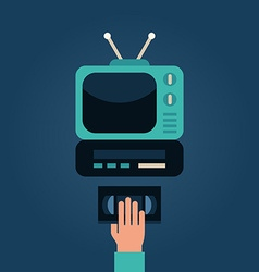 Video Cassette Player with TV Human Hand with vector