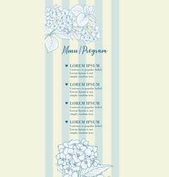 wedding invitation with blue hydrangea flowers vector image