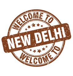 Welcome to new delhi brown round vintage stamp vector