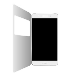 White smartphone in case isolated vector image