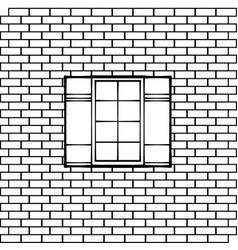Window on a brick wall vector