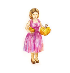 Woman gardener with two small pumpkins in her vector