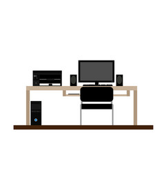 workplace personal computer printer speakers vector image