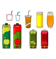 Apple juice design elements in cartoon style vector image vector image