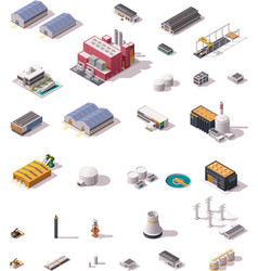 isometric factory buildings set vector image vector image
