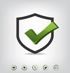 Shield check mark and web icons vector image