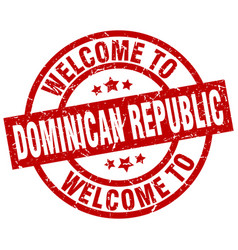 Welcome to dominican republic red stamp vector