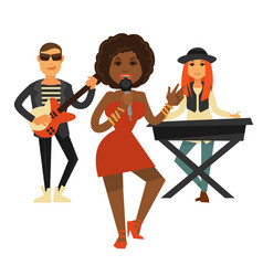 cool music band performs pop song isolated vector image vector image