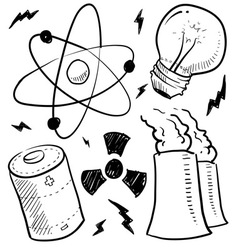 doodle power source nuclear vector image vector image