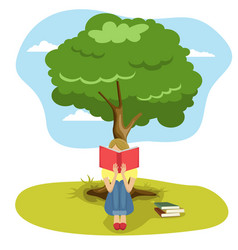 girl reading book sitting under tree of wisdom vector image vector image