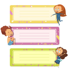 notebook covers design with funny kids vector image vector image