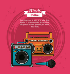 poster music festival in magenta background with vector image vector image