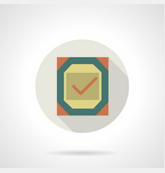 quality checked flat round icon vector image