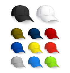 Set of Baseball caps isolated on the white vector image vector image