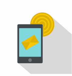 smart phone sending email icon flat style vector image