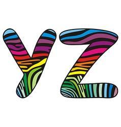 Background skin zebra shaped letter Y Z vector image vector image