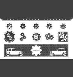 gear elements set vector image vector image