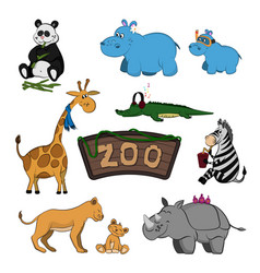 animals of zoo set of cute images vector image